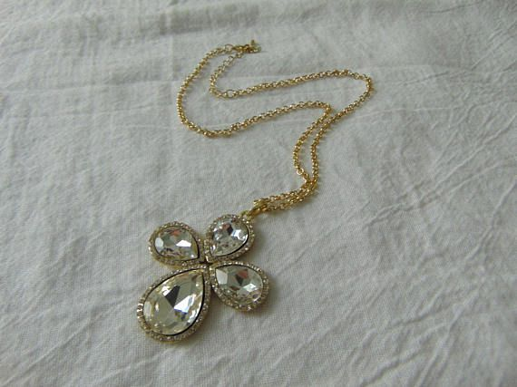 swarovski crystal cross pendant necklace clear crystals gold