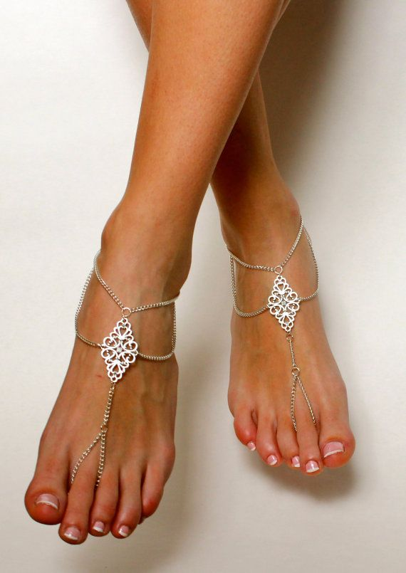 Boho Tribal Barefoot Sandals Chained Foot Jewelry by BareSandals