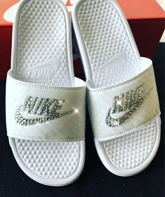 Women s Nike Benassi Slide Sandals- Bling Nike Slides- Bling Nike Slide  Shoes- Custom Nike Slides- Swarovski Crystal Nike Slides e738075638