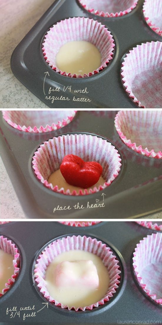 how to bake surprise inside heart cupcakes // perfect for valentine