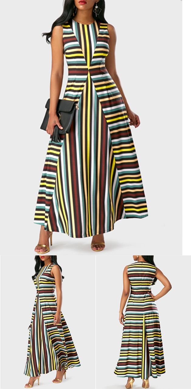Appreciate what you have, stripe long dress, don't miss it again.