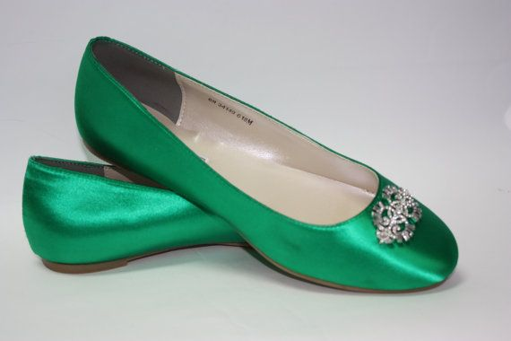 These would work well too! But why the price?  Wedding Shoes  Emerald Green  Flat Wedding Shoe  by Parisxox, $100.00