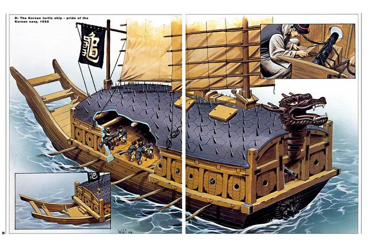 """In 1592, the de facto ruler of Japan, Toyotomi Hideyoshi, ordered the  invasion of Korea. Little did he know that the Koreans would fiercely resist their invasion, nor did he know that the Koreans had weapons technology far more advanced than that of Japan.  Among that advanced technology was a heavily armed and armored warship called the """"turtle ship"""", a tough and mighty gunboat that better resembled a floating tank rather than a ship."""