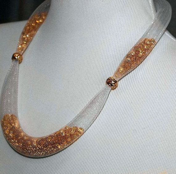 Gold  Seed Bead Necklace in a  White Tube Mesh. by tanitastyle, €37.00