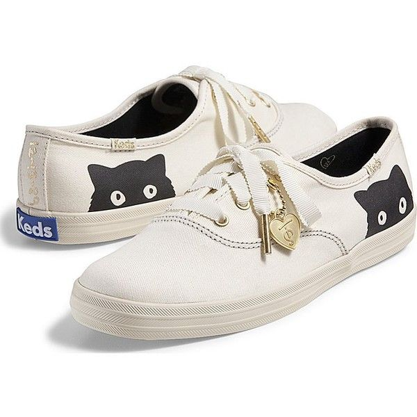 Keds Taylor Swift's Champion Sneaky Cat found on Polyvore featuring shoes, sneakers, cream, cat sneakers, cream shoes, keds, cat footwear and keds footwear