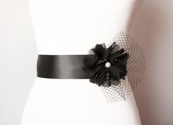 Sash length: 250 cm (knee length with a bow in the back) or custom  Ribbon width: 2 inch  Sash color: Black    A very elegant and sassy belt for