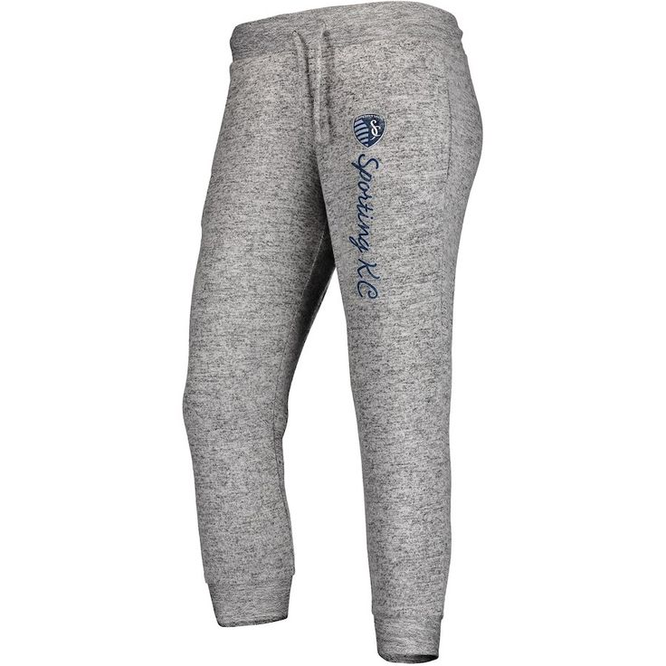 Women's Sporting Kansas City Fanatics Branded Heathered Gray Cozy Collection MLS Steadfast Crop Jogger Pant