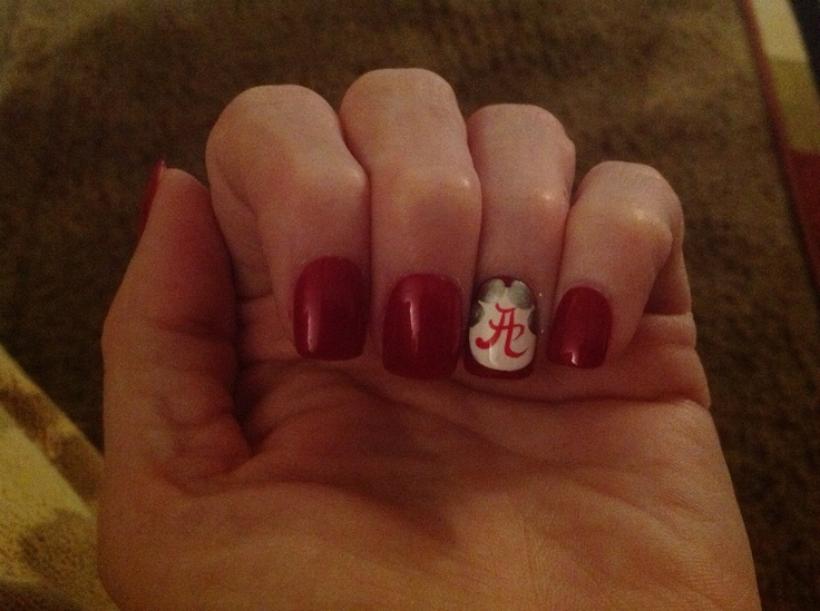 Alabama nail designs - 7 Best Crimson Tide Nail Designs Images On Pinterest Alabama