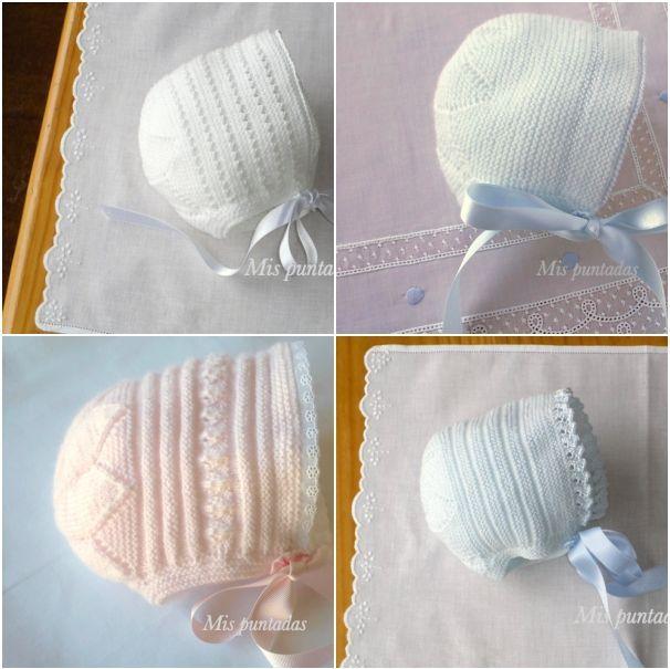 Baby bonnets. ~~ Mis puntadas entre bordados y costuras by Chelo Vicente