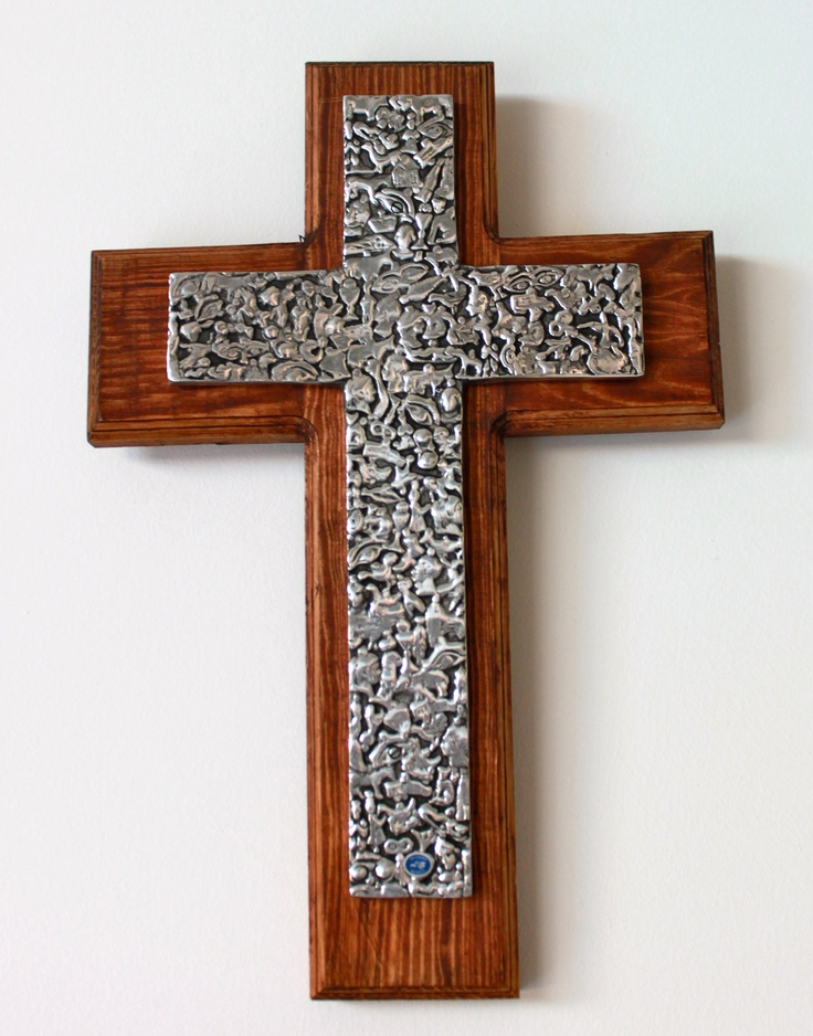 Wood & Pewter Cross - Hand Crafted