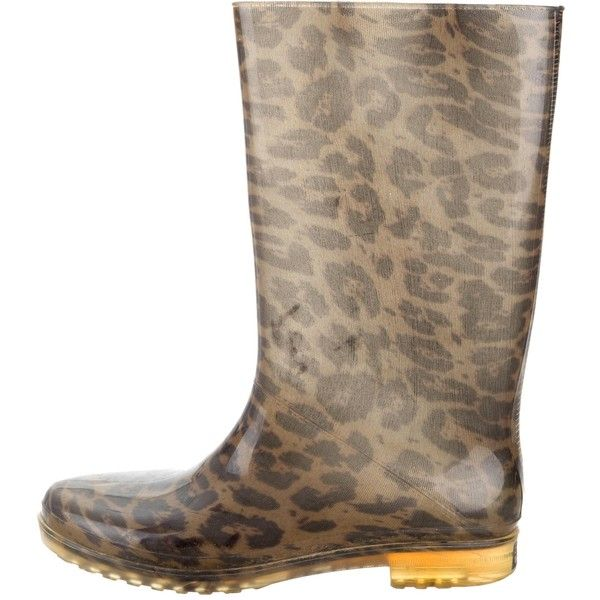 Pre-owned Stuart Weitzman Leopard Print Rain Boots (59.245 CLP) ❤ liked on Polyvore featuring shoes, boots, animal print, print rain boots, leopard rain boots, leopard print shoes, black wellington boots and stuart weitzman boots