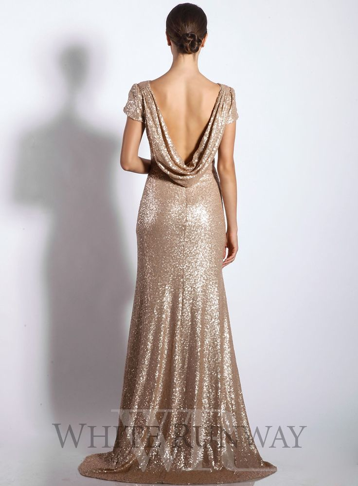 Sequin Cowl Back Dress