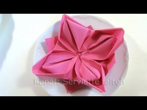 Servietten falten: Lotusblüte z.B. Ostern