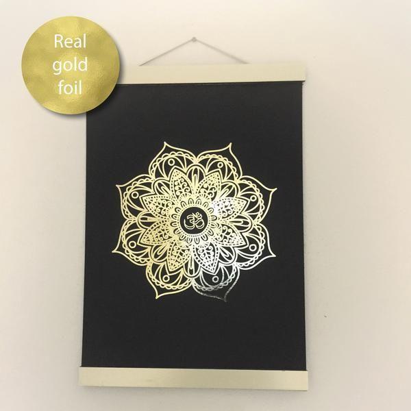 Mandala Black & Gold Wall Art Print in Gold Foil – Glitzy Prints