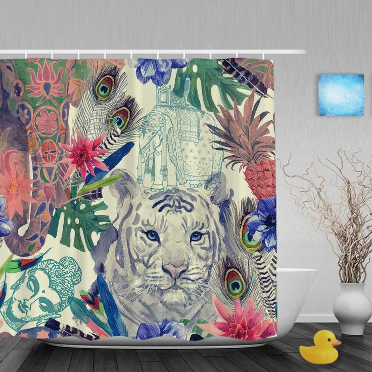 >> Click to Buy << Cute Tiger And Flowers Decor Shower Cutains Animal And Nature Bathroom Shower Curtains Polyester Waterproof Fabric With Hooks #Affiliate