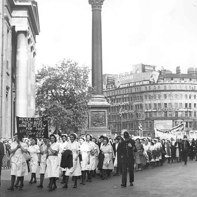 When the NHS came into being in 1948, many student nurses were shocked to find their first pay packet from their new employer left them 10 shilling a month worse off. This caused an uproar and a public march was held from Trafalgar Square to Hyde Park in August of that year. #RCN100