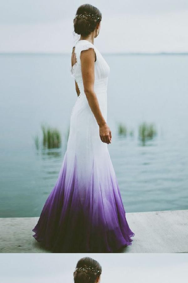 Mermaid Wedding Dress Chiffon Wedding Dress Purple Wedding Dress