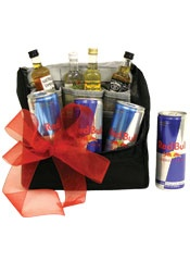 If Red Bull gives you wings, this gift basket will certainly shoot you to the moon!  It has 4 cans of Red Bull Energy drink and mini liquor bottles like Jack Daniels, Bacardi Limon Rum, Jose Cuervo Tequila and Southern Comfort for you to mix with.  If you send someone this gift basket, count on them flying for a long time!