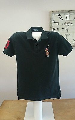 POLO by Ralph Lauren Black Polo Shirt Size S Large Polo Player Logo, 3 on Sleeve