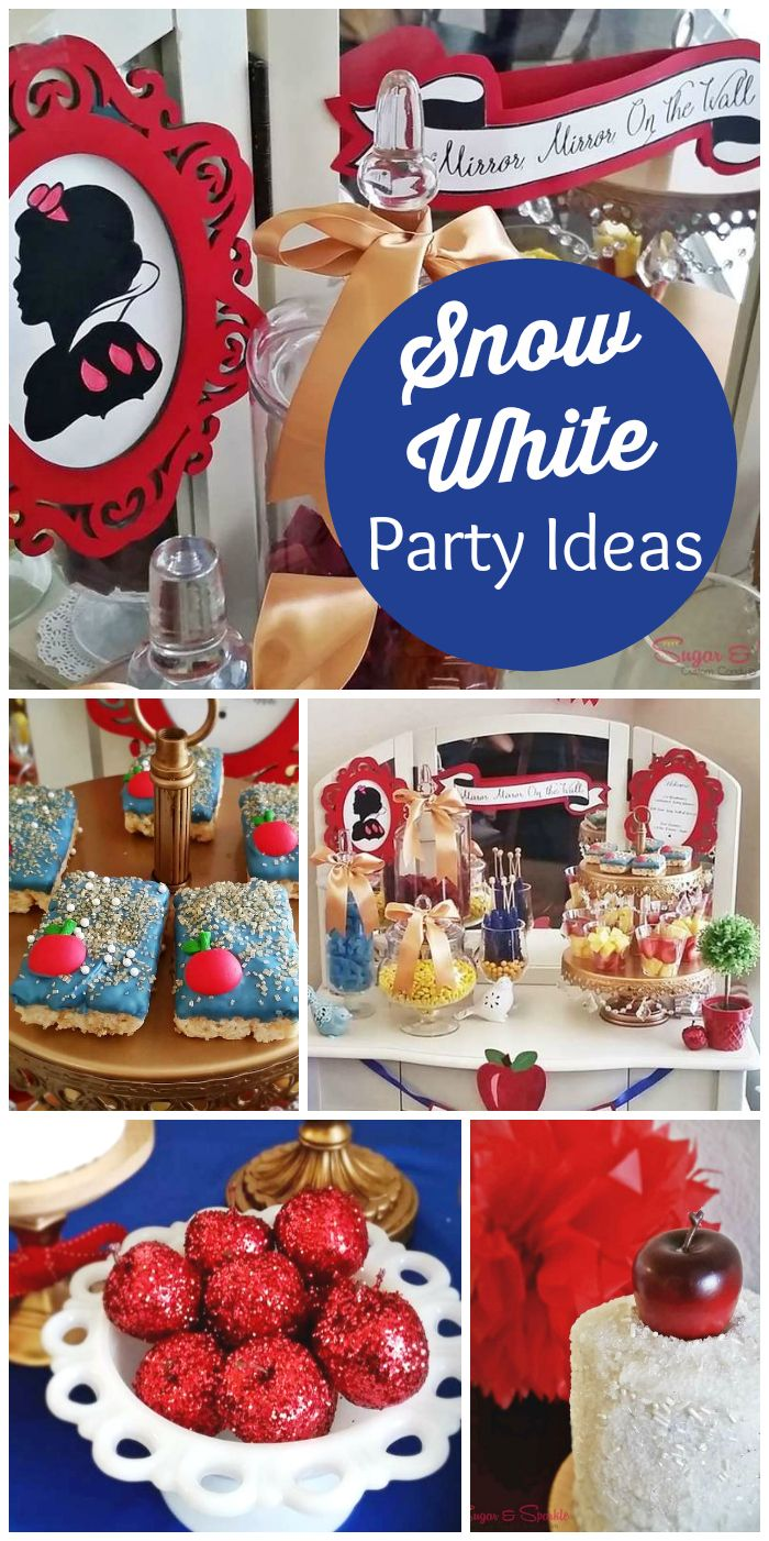 A striking Snow White candy buffet for a baby shower with a white rosette cake and two mini sprinkle cakes! See more party planning ideas at CatchMyParty.com! #partyideas #princess