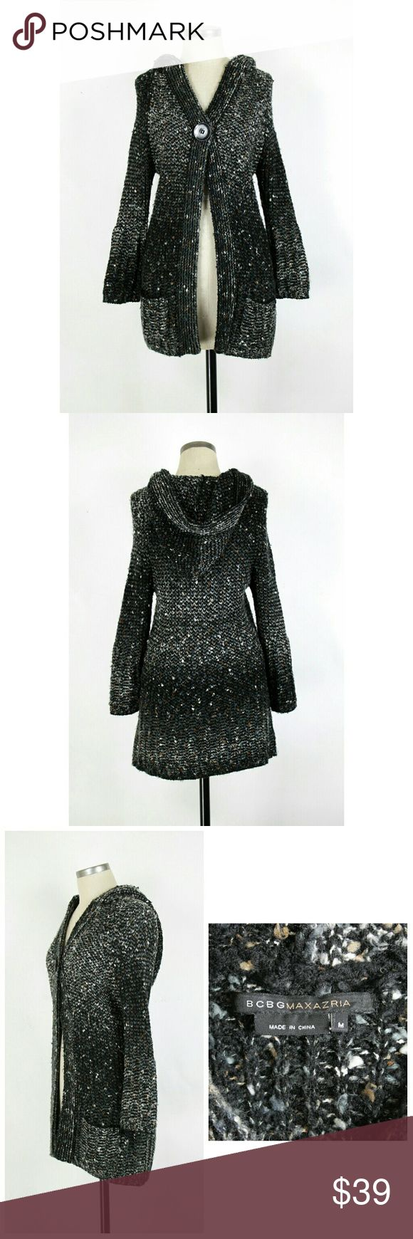 """BCBGMAXAZRIA hooded cardigan sweater coat Size Medium. BCBGMAXAZRIA hooded cardigan sweater coat. Single button front closure. Long sleeves. Front pockets.  Long length styling. Chunky knit. acrylic/polyester/alpaca/mohair/nylon blend. Gently used with no flaws. Approximate measurements Bust 33"""" Length 32"""".  Colors black, blue, brown and gray. BCBGMaxAzria Sweaters Cardigans"""