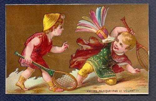 LE JEU DU Volant Enfants Raquette Sport Chromo Trade Card