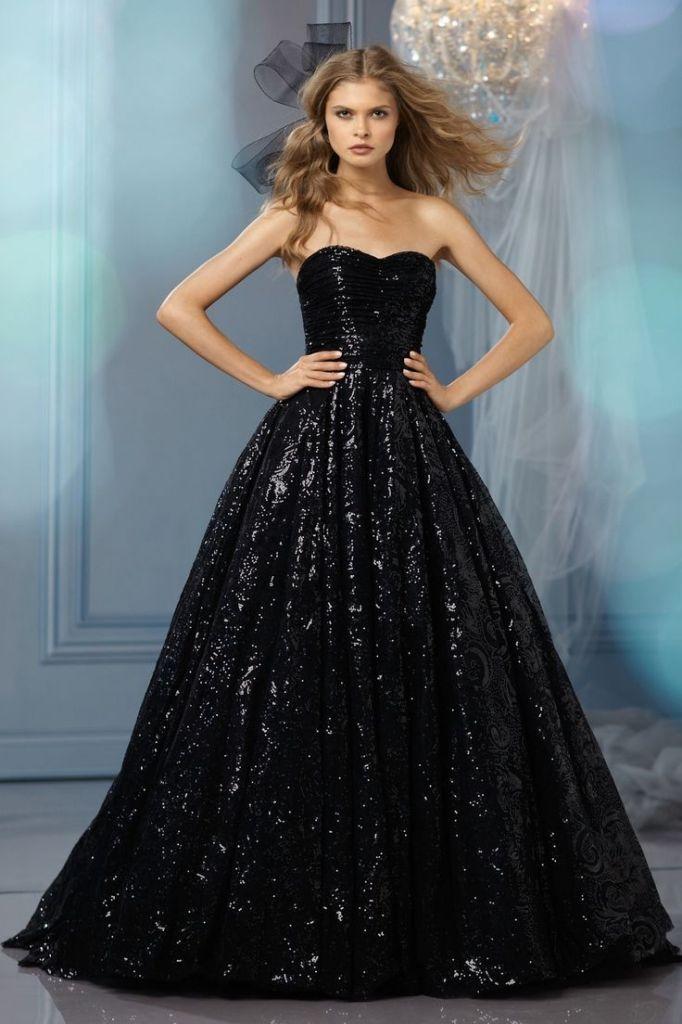 WTOO Black Sequined Wedding Dresses