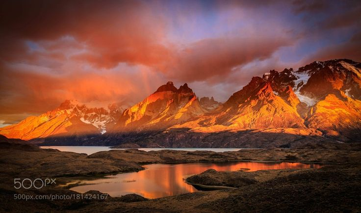 FIRE ON TORRES DEL PAINE - 1367 by raimondo_restelli. Please Like http://fb.me/go4photos and Follow @go4fotos Thank You. :-)