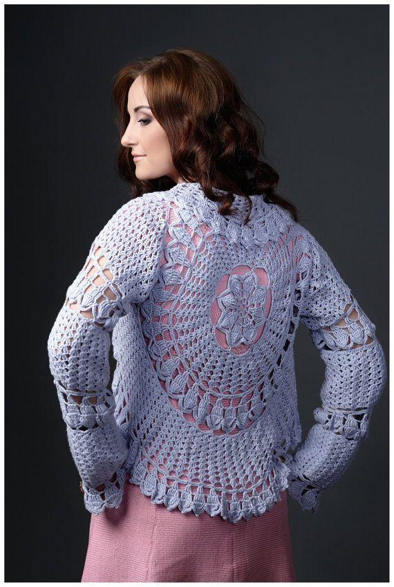 Gorgeous rose crochet bolero openwork bolero by GenuineWoolheart