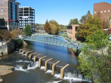 Reedy river in downtown greenville, NC
