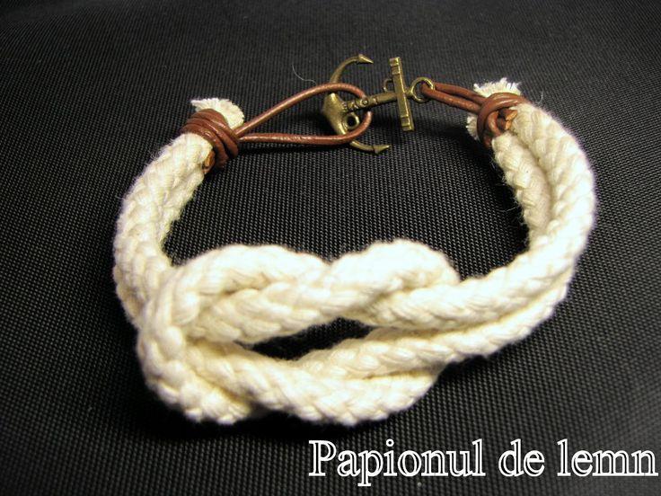 Handmade Bracelet Navy Square Knot 4 :: Papionul de lemn