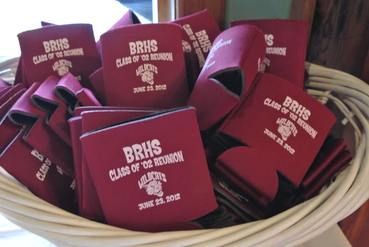 Class Reunion Koozies In A Basket. Keep By the Door So Everyone Gets One! #koozies #reunion