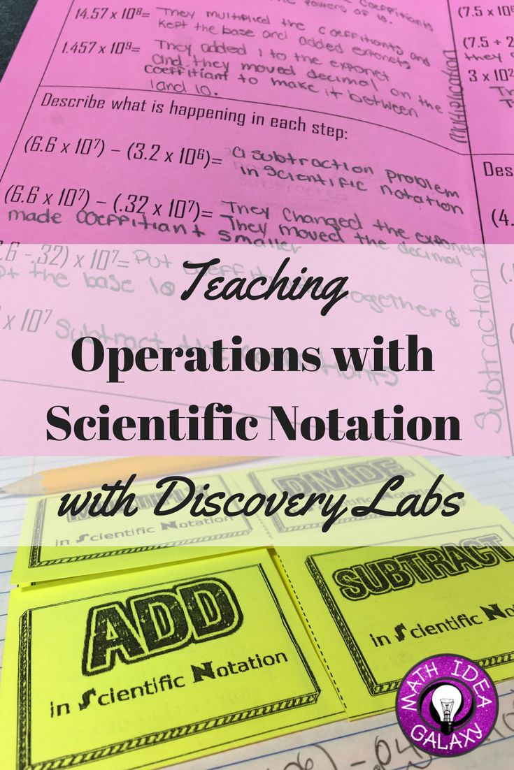 Step by step guide to teaching students about operations with scientific notation through discovery labs. Starting a unit this way helps students really *get* it.