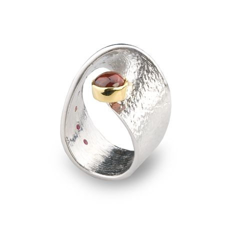 Ring | G.Kabirski. Sterling silver, garnet, ruby and gold plate detail