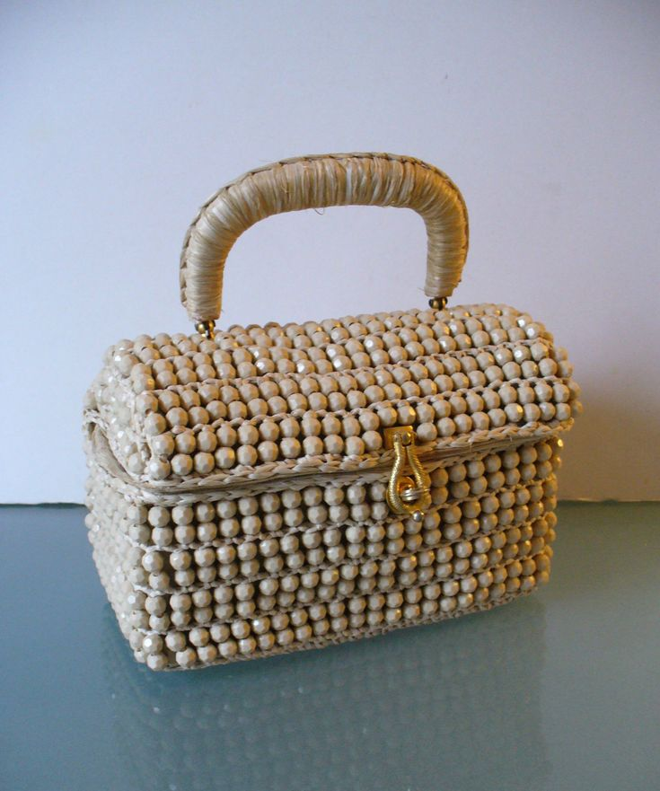 Made in Italy Beige Raffia Bag with Faceted Beads by EurotrashItaly on Etsy
