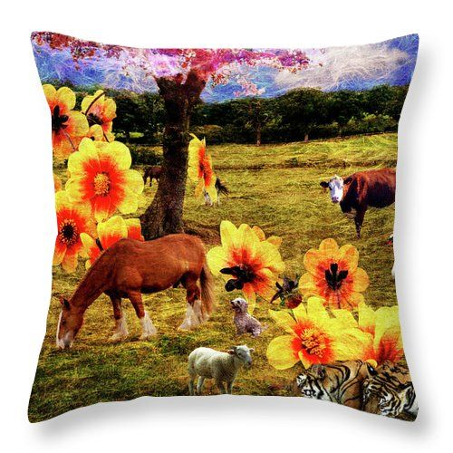 Throw Pillow featuring the photograph Fantasy Farm by Judi Saunders. Available in several sizes with or without inset.