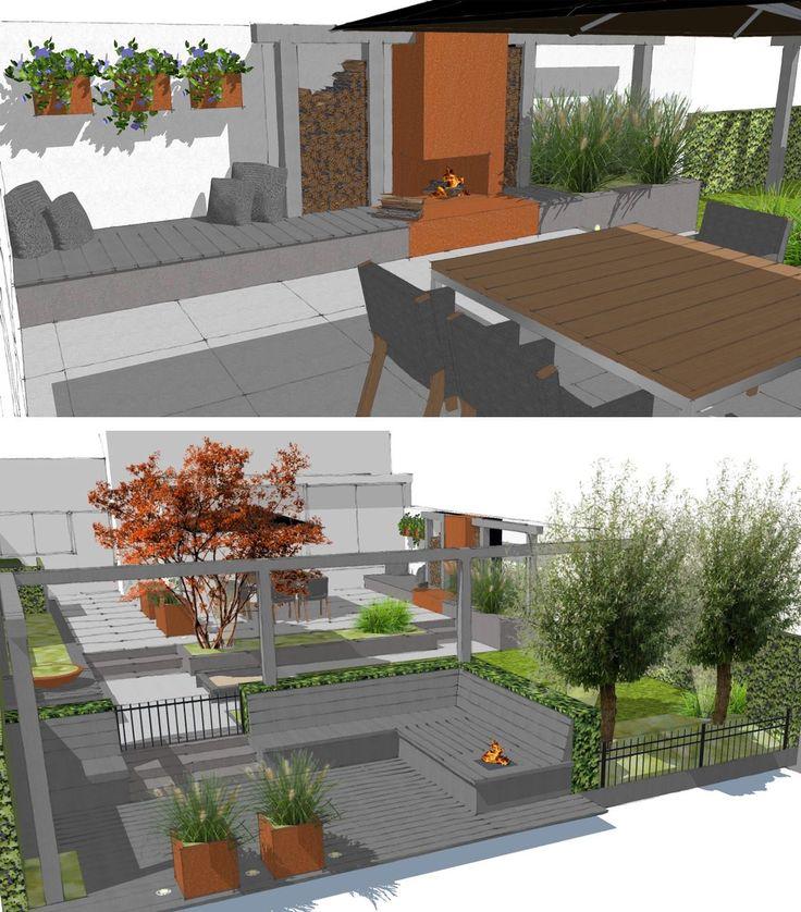 Tuinontwerp SketchUp Moderne tuin aan het water met Cor ten Stalen buitenhaard