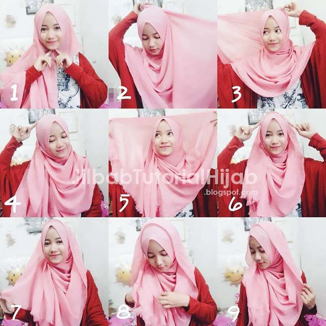 tutorial hijab pink