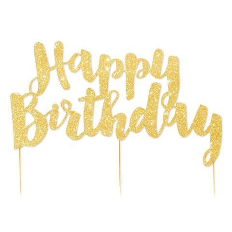 Happy Birthday Gold Glitter Cake Topper