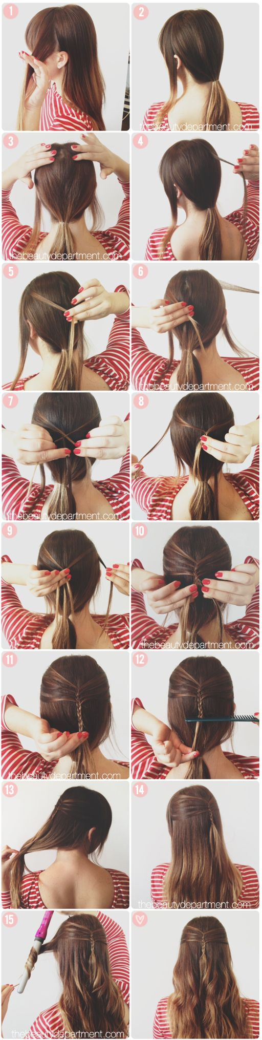 mini french braid by the beauty department. this is a cute look to do for summer to wear hair down, but get it off your face at the same time!