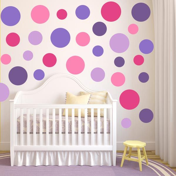 Multi Size Pink And Purple Polka Dot Wall Decal Pack
