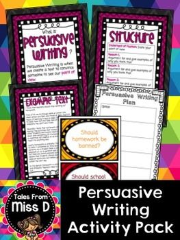 This pack will provide you with resources to teach persuasive writing to your class.  Included in this pack;  * What is Persuasive Writing? Poster * Structure - poster outlining what each paragraph contains * Sequencing Phrases Poster * Persuasive Phrases Poster * Example Text * Example Text Ordering Activity - put the example text in the correct order * 2 Graphic Organisers - For student planning * 24 Persuasive Writing Prompts