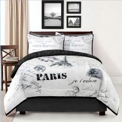 details about paris postcard comforter set eiffel tower white black london french bedding new. Black Bedroom Furniture Sets. Home Design Ideas
