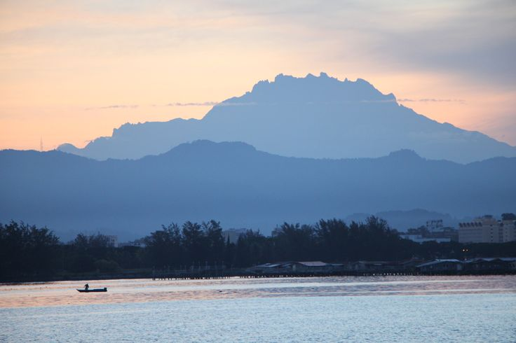View of Mount Kinablau, at sunset, from Kota Kinabalu