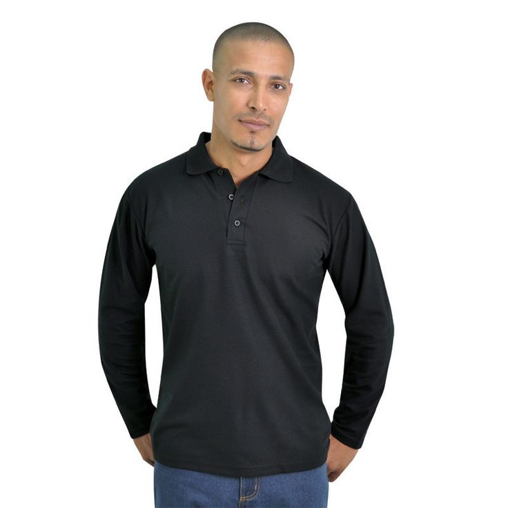 Long Sleeve Pique Knit Polo BRAND: TEE & COTTON Has knitted collar using high quality yarns to maintain shape and style and double stitched hem on waistline and sleeves