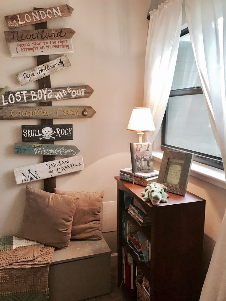 Bookshelf and directional wall decor for Peter Pan bedroom / nursery