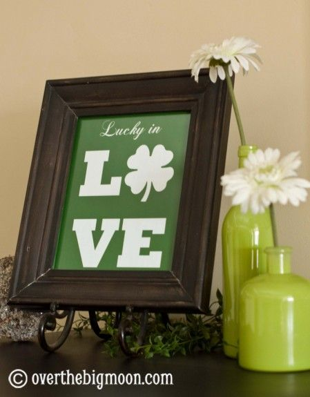 Love how Lisa from Over the Big Moon uses my free Lucky In Love printable in her Holiday decor!