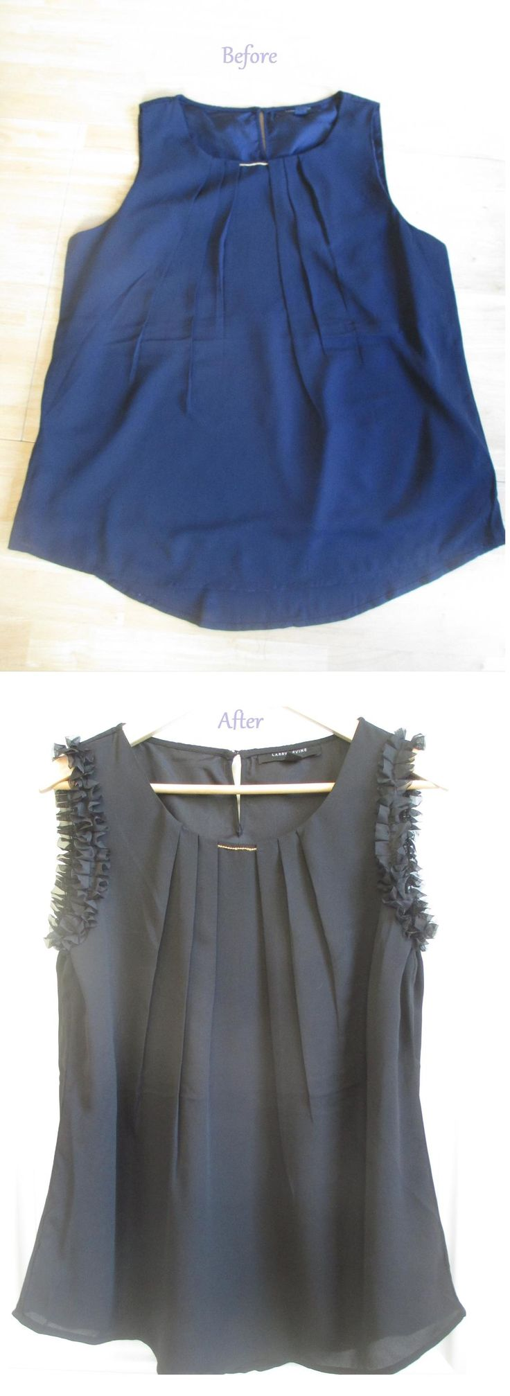 DIY Blouse Makeover with Ruffles - Clothes Refashion Tutorial
