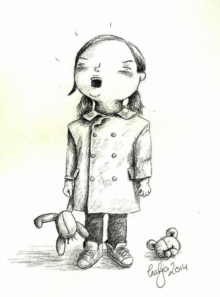 Broken teddy bear. Illustration by Katja Zweiniger