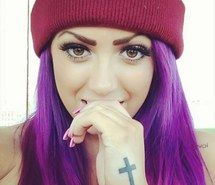 beautiful, purple hair, geordie shore, holly hagan, cross, Hot, dip dye, ombre hair, fashion, hairstyle, tattoo